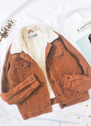 Вельветовая куртка шерпа джинсовка