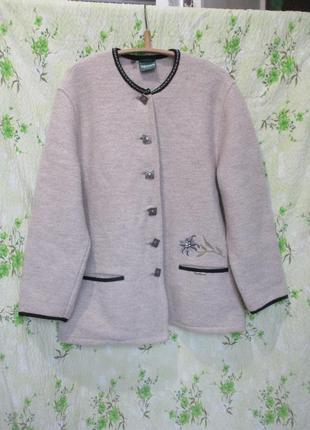 Шикарный теплый шерстяной кардиган-пальто с вышивкой/шерсть альпака 100% шерсть