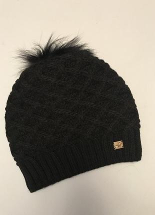 2a75eeeae253 Sale! чёрная женская шапка на флисе с меховым помпоном ZARA, цена ...