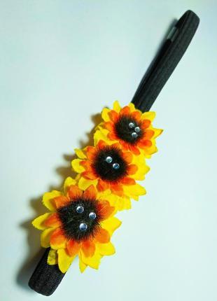 Веночек с подсолнушками ободок украшение волос прически на резинке, аксессуар цветы, обруч