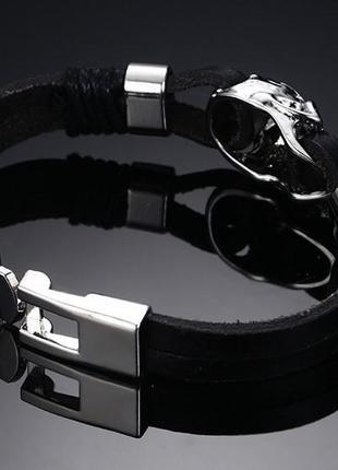 Крутой мужской кожаный браслет+нержавеющая сталь3 фото