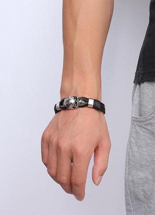 Крутой мужской кожаный браслет+нержавеющая сталь4 фото