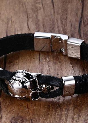 Крутой мужской кожаный браслет+нержавеющая сталь