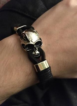 Крутой мужской кожаный браслет+нержавеющая сталь5 фото