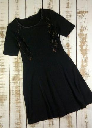 Черное платье с гипюровыми вставками marks & spencer