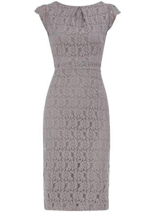 Великолепное кружевное платье миди с молнией на спинке
