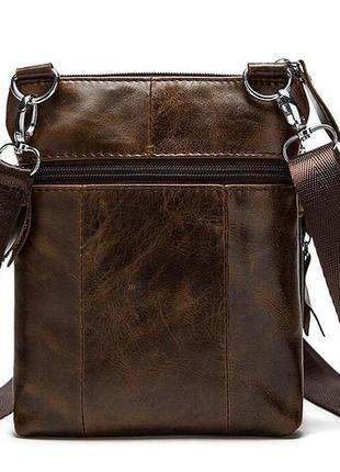 Мужская сумка из натуральной кожи, коричневая3