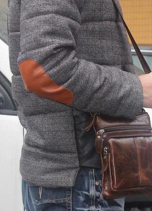 Мужская сумка из натуральной кожи, коричневая2