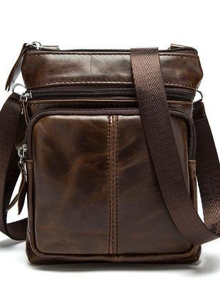 Мужская сумка из натуральной кожи, коричневая