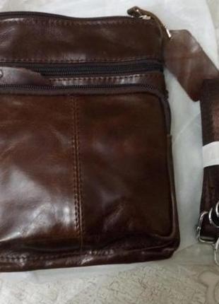 Мужская сумка из натуральной кожи, коричневая5