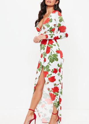 Асимметричное платье в крупные цветы missguided
