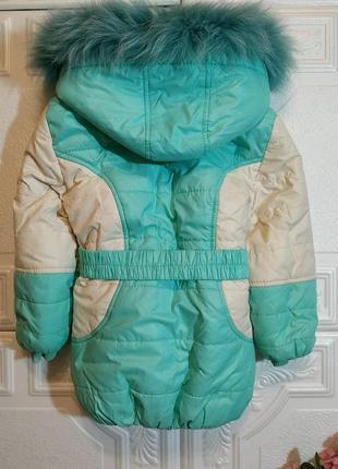 Зимний раздельный комбинезон (куртка  полукомбез), натуральная опушка, 3-4 года 98-104 см2