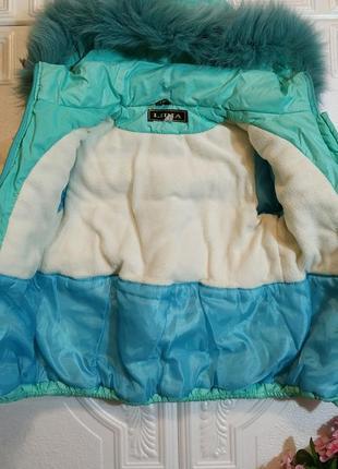 Зимний раздельный комбинезон (куртка  полукомбез), натуральная опушка, 3-4 года 98-104 см4