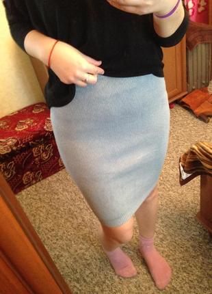 Стильная вязанная юбка карандаш теплая вязка