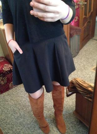 Базовая череая юбка с карманами солнце клеш трапеция деловой стиль