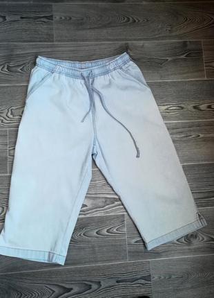 Бриджи летние джинсовые, пояс резинка   шнуровка