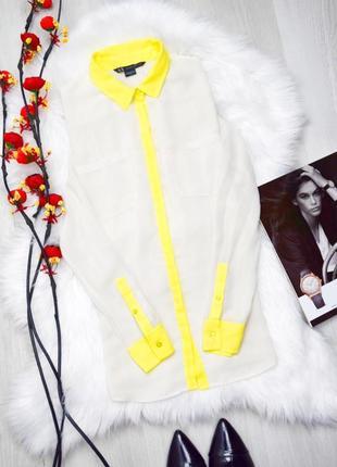 Фирменная молочная рубашка жёлтый воротник манжеты