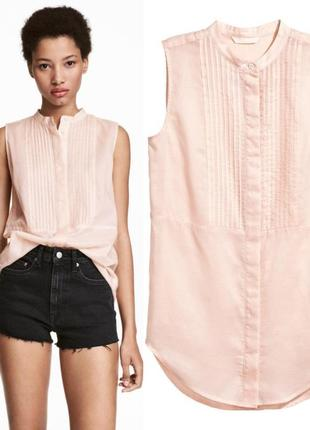 Пудровая удлиненная блуза без рукавов h&m m