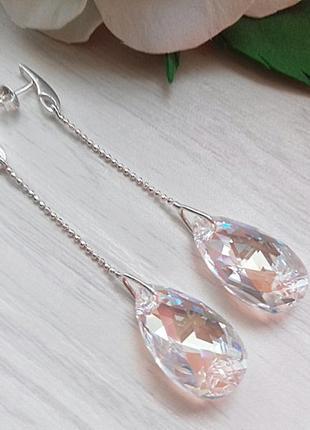 Длинные серьги с кристаллами swarovski
