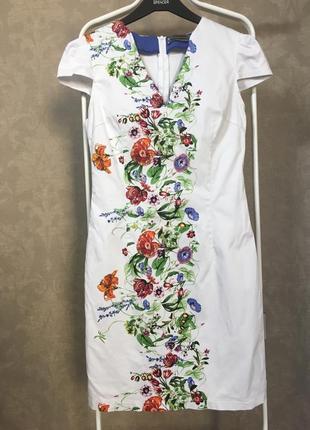 Белое платье с цветами olko 38 р м