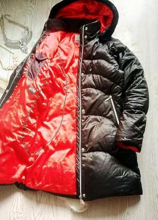 Черный теплый длинный пуховик пух и перо nike зимняя куртка на морозы холодную зиму