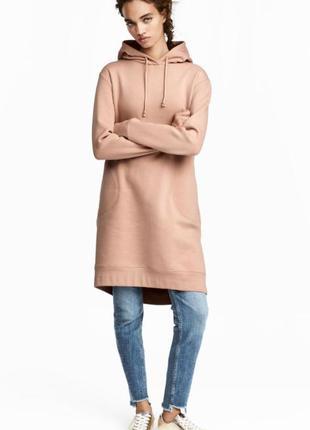 Теплое платье худи свитшот с капюшоном h&m размер с-м