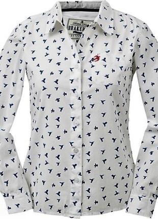 Стильная коттоновая фирменная рубашка птичий принт,английский бренд brakeburn,xs-s
