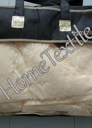 Плед травка 220х240 с кожаной биркой,  с длинным ворсом, персик2 фото
