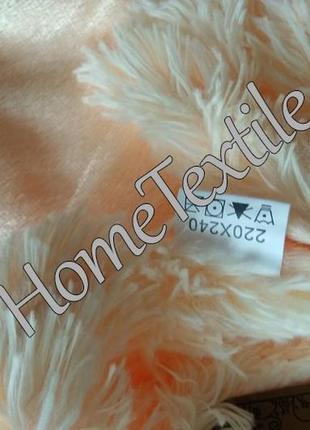 Плед травка 220х240 с кожаной биркой,  с длинным ворсом, персик4 фото
