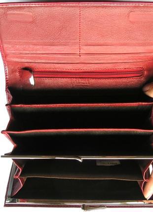 Большой кожаный кошелек бордовая роза, 100% натуральная кожа, есть доставка бесплатно2