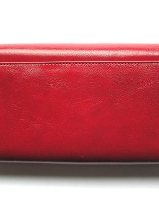 Большой кожаный кошелек бордовая роза, 100% натуральная кожа, есть доставка бесплатно3