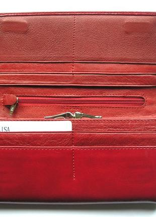Большой кожаный кошелек бордовая роза, 100% натуральная кожа, есть доставка бесплатно4