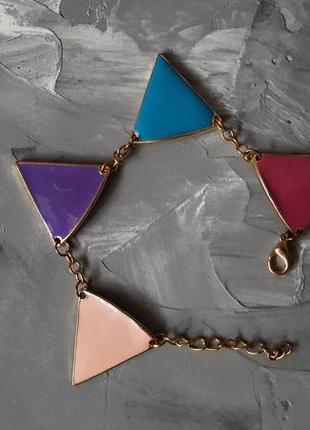 Браслет яркие цветные треугольники двусторонний