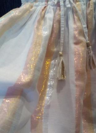 Пудровое платье next,6-7л,золото полоски,летнее3