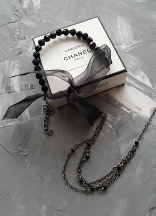 Ожерелье чокер подвеска черное элегантное бант с бусинами и кристаллами