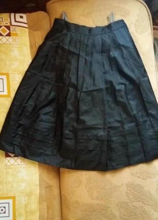 Черная красивая элегантная юбка солнце клеш в стиле chanel