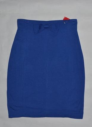 Синяя юбка миди с бантиком на поясе от sora by jbc