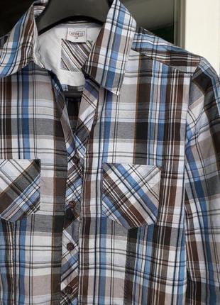 Just for you голубая рубашка в принт клеточку блузка длинный рукав