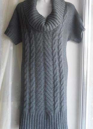 Тёплое вязаное платье ше. шерсть альпаки. короткий рукав.
