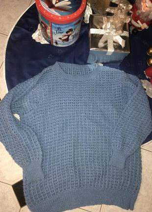 Безумно красивый свитер цвета тиффани ручной работы 💫