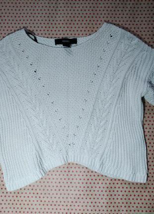 Модный укороченный теплый свитер