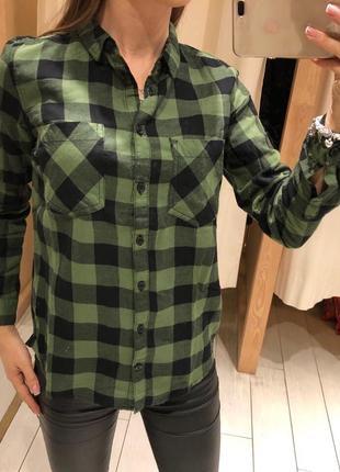 Зелёная клетчатая рубашка хлопковая рубашка в клетку house есть размеры