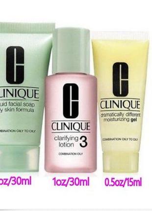 Clinique набор 3 системы ухода для комбинированной и склонной к жирности кожи