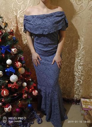 Шикарное вечернее кружевное выпускное платье рыбка компания shubette румуния