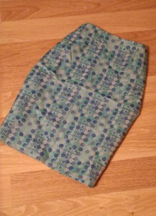 Мятно бирюзовая юбка миди в горошек принт и с отблеском jigsaw