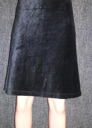 Велюровая бархатная юбка трапеция миди