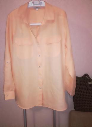 Красивая льняная персиковая блуза рубашка next, р.16 (14/18)