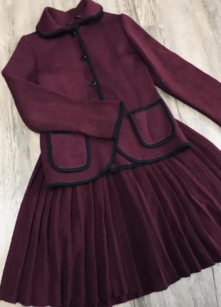 Тёплый школьный костюм кофта юбка для девочки