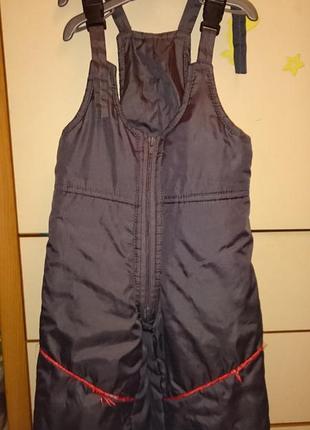 Полукомбинезон, брюки теплые, зимние штаны 4 - 6 лет