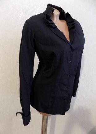 Блузка рубашка с красивым воротником черная коттоновая размер 46-48